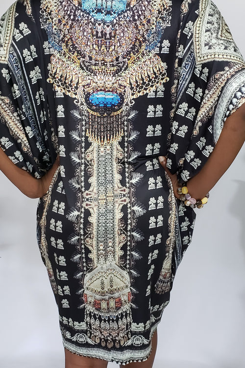Kristal Exotic Animal Print Embellished Batwing Bohemian Tunic Dress in Midnight Black & Turquoise Multi - Houzz of DVA Boutique