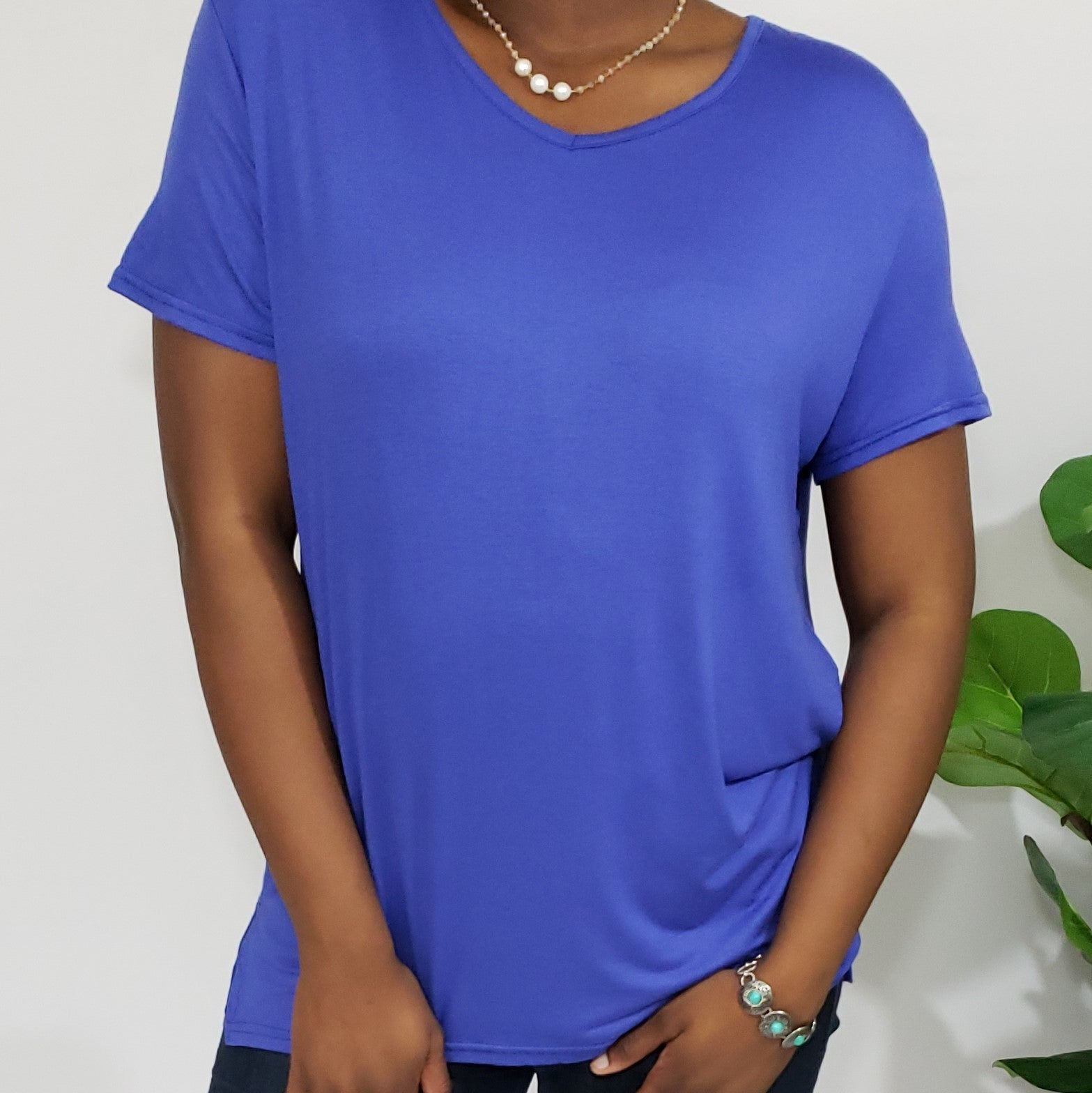 Lori Cobalt Blue V-Neck Buttery Soft T-Shirt - Houzz of DVA Boutique