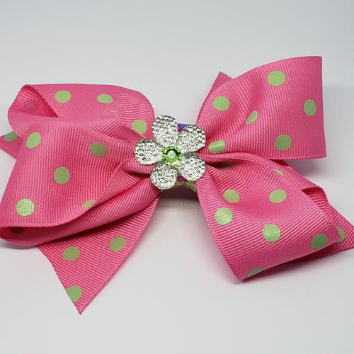 Mila Lime Green Swarovski Pink & Green Polka Dot Bow - Houzz of DVA Boutique