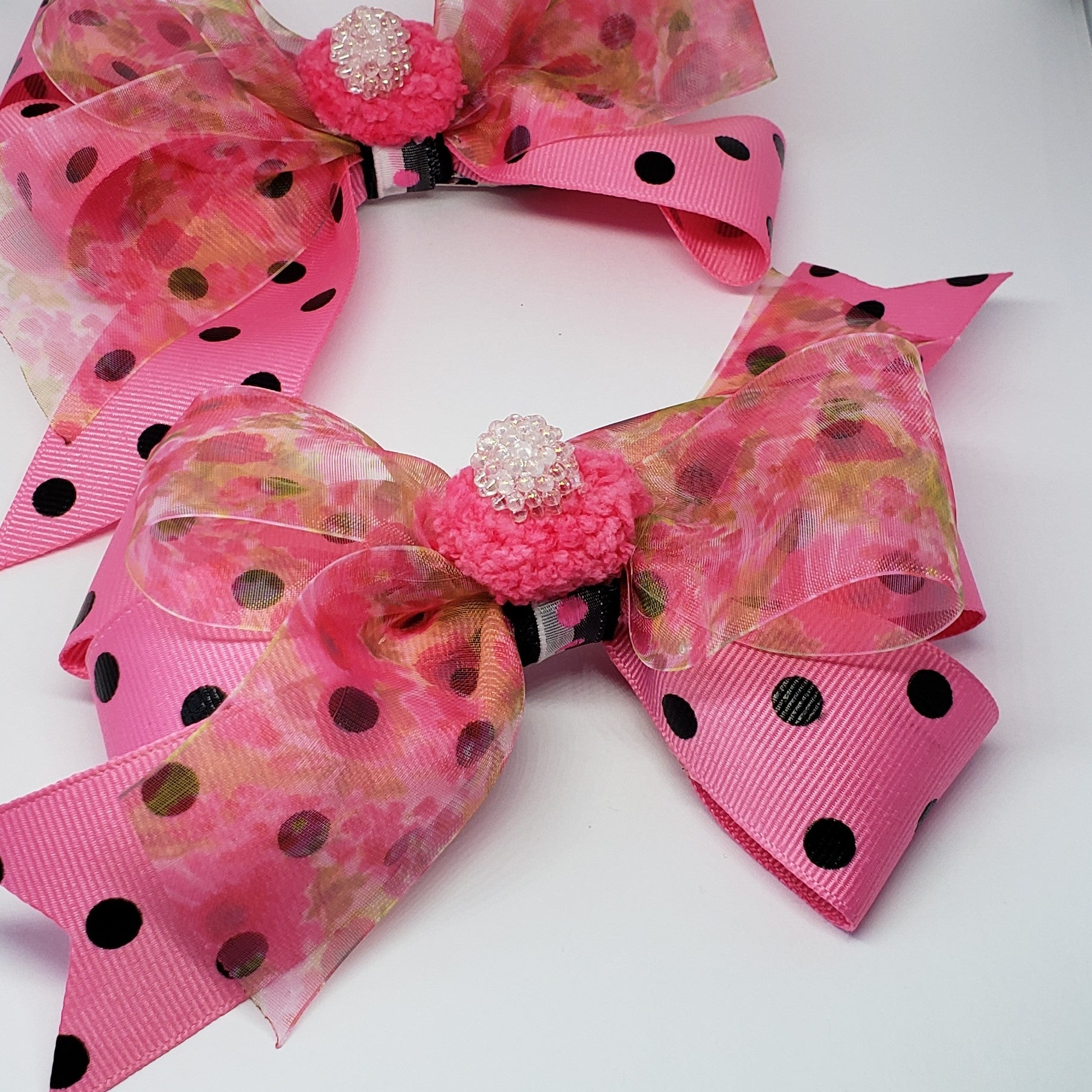 Danielle Pink & Black Flora Pom Pom Bow - Houzz of DVA Boutique