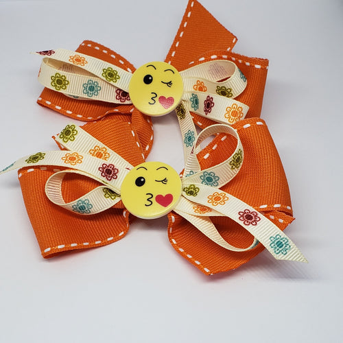 Sarai Kissy Face Orange & Cream Floral Bow - Houzz of DVA Boutique