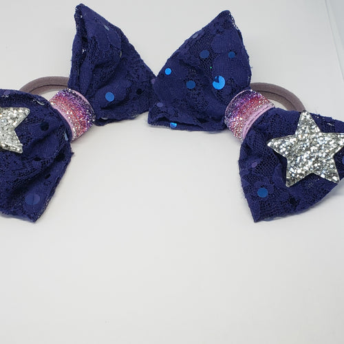 Sophia-Lynn Starry Night Navy Sequin Lace & Sparkling Lavender Hair Bow - Houzz of DVA Boutique