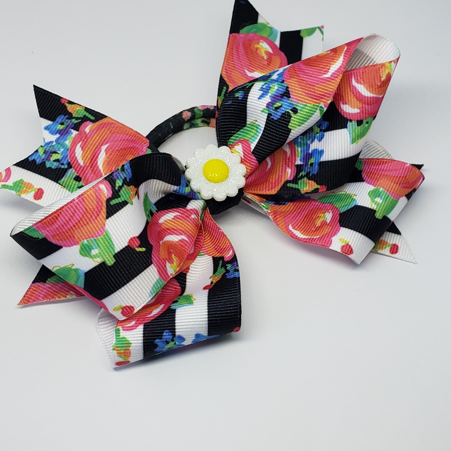 MiAmor Sunflower Party Black & White Floral Multi Hair Bow - Houzz of DVA Boutique