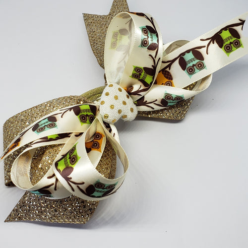 Kelsea Heart of Gold Hair Bow in Cream, Taupe & Gold - Houzz of DVA Boutique