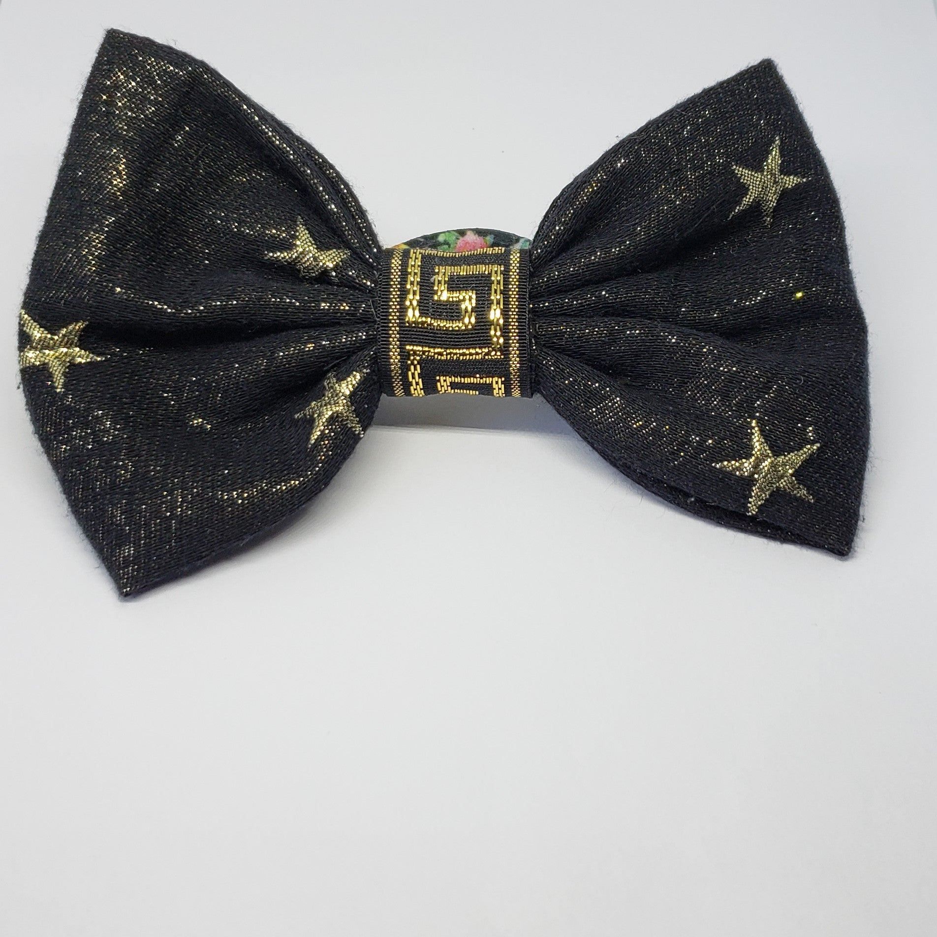 Mia Under the Stars Designer Inspired Black & Gold Multi Floral Bow - Houzz of DVA Boutique
