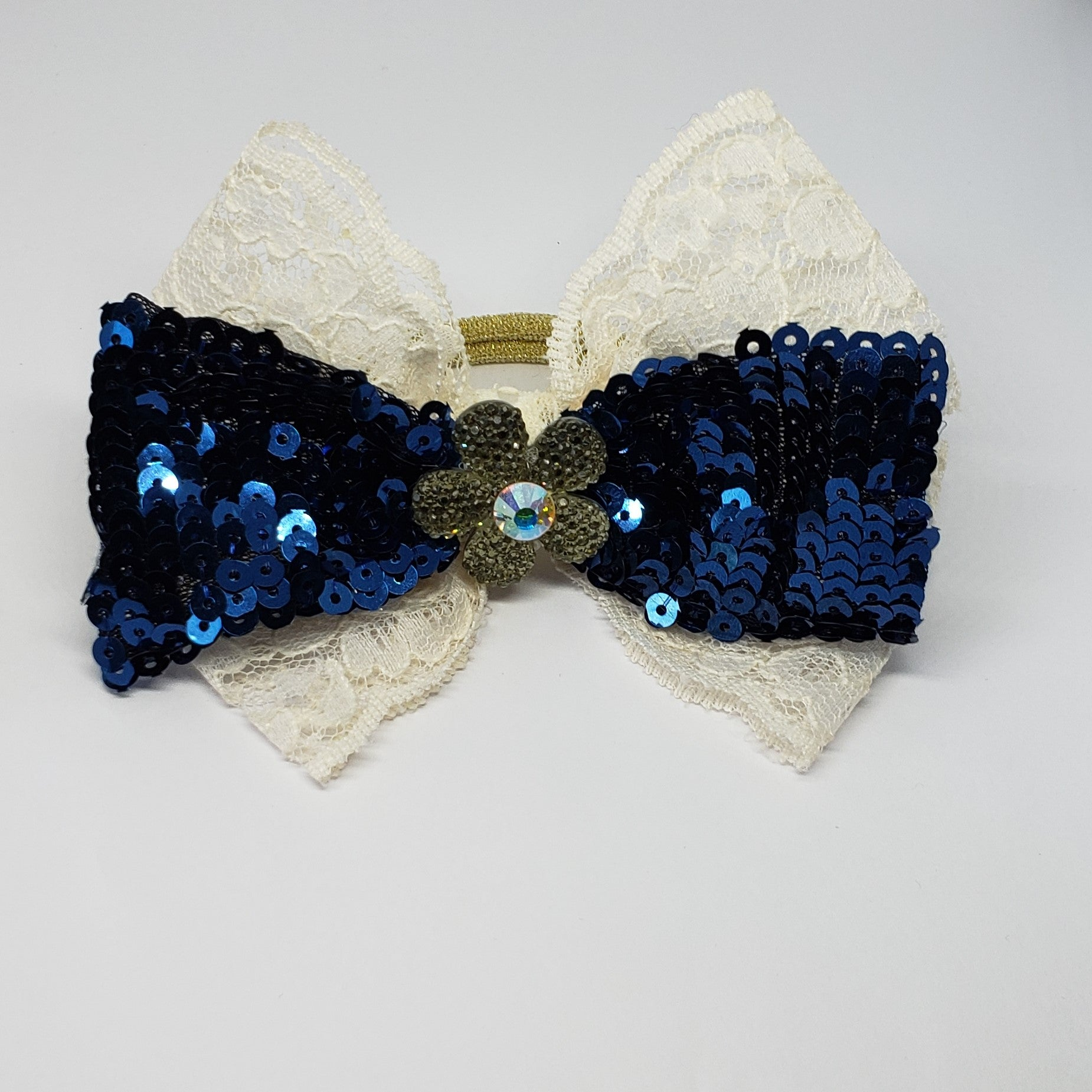 Kaelyn Holiday Sparkle Cream Lace & Navy Sequins Swarovski Bow - Houzz of DVA Boutique
