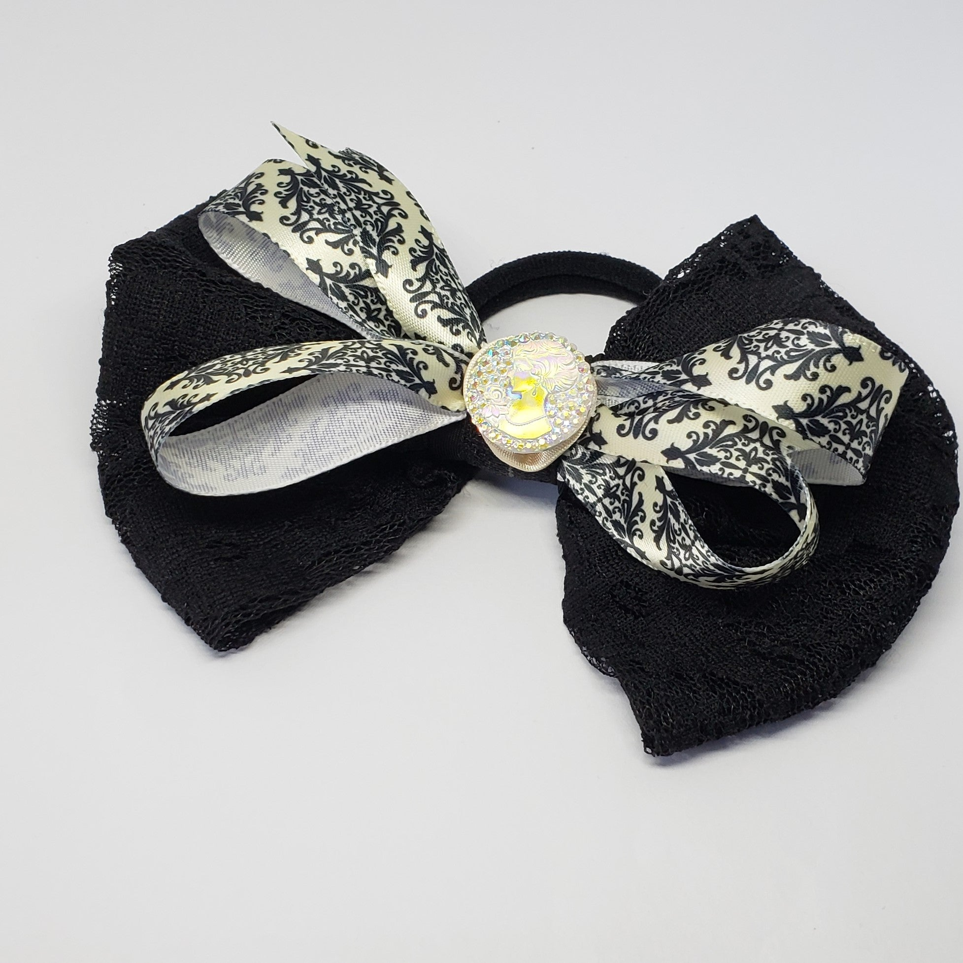 N-Zala Moonlight Stroll Black & Cream Lace Cameo Bow - Houzz of DVA Boutique