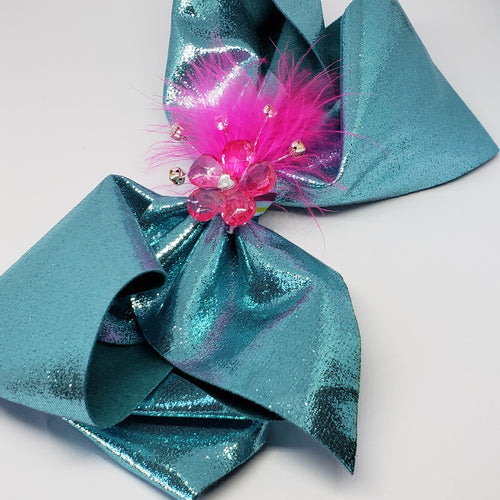 Zyilaya Glitzy Feathers & Flowers Bow in Turquoise & Fuchsia - Houzz of DVA Boutique