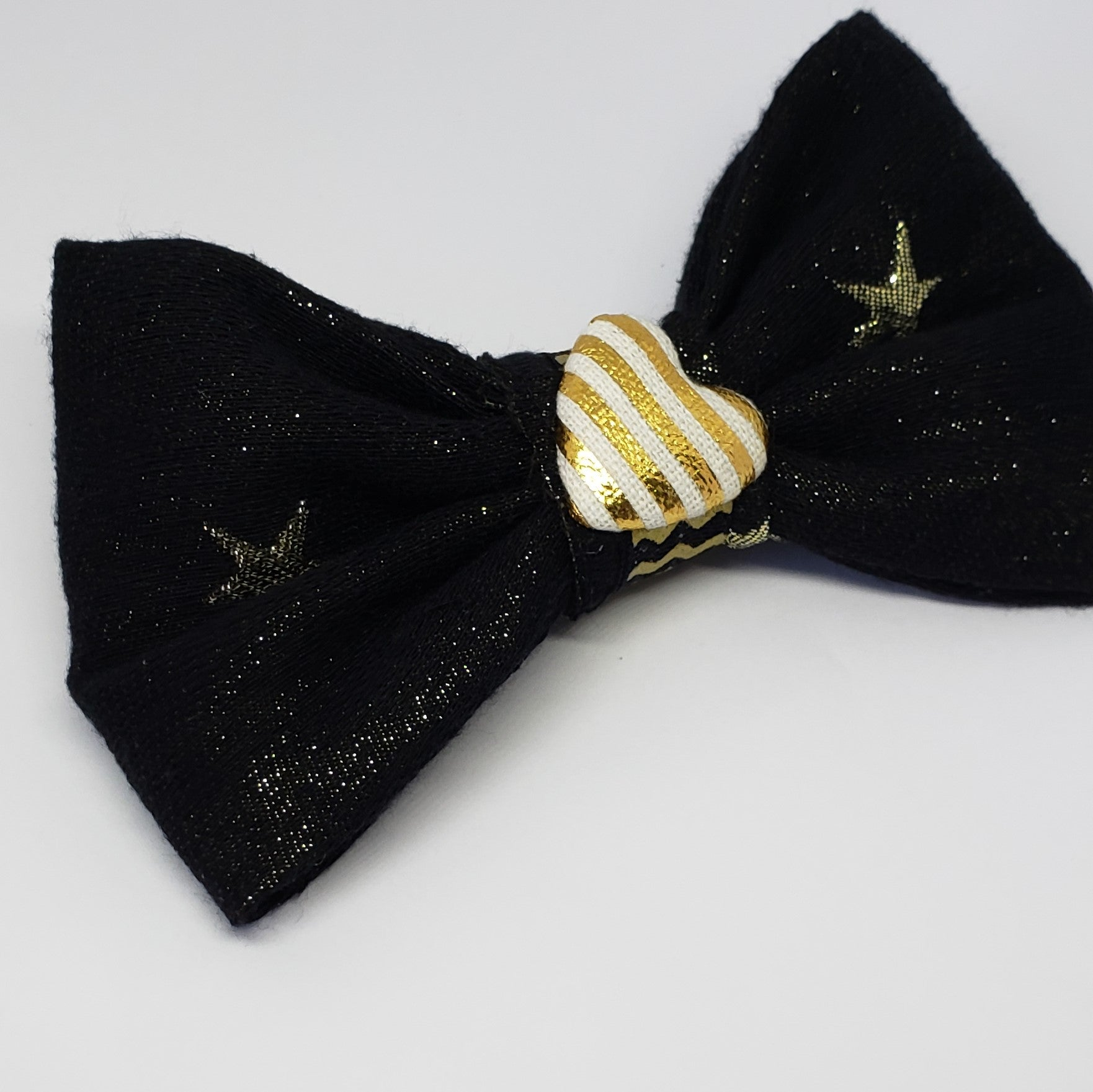 Mia Under the Stars Cream, Gold & Black Heart Detail Bow - Houzz of DVA Boutique