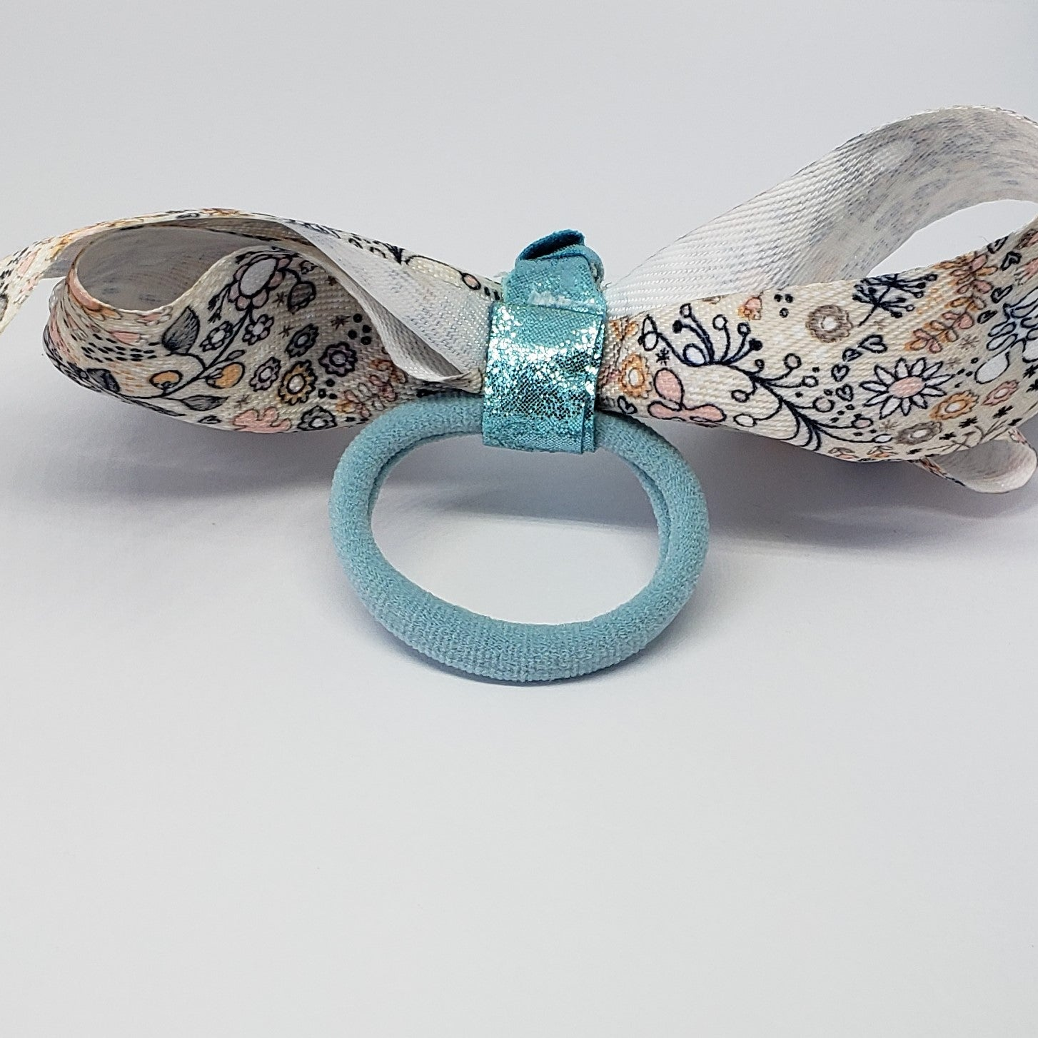Kelsea Cream & Navy Floral Bow with Turquoise Knotted Detail - Houzz of DVA Boutique