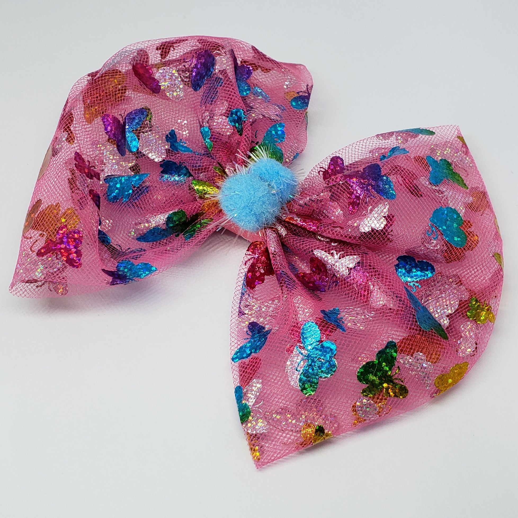 Kaelyn Butterflies & Pompoms Swarovski Fuchsia Multi Bow - Houzz of DVA Boutique
