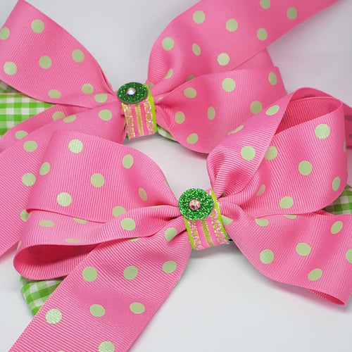 Danielle Pink Green & White Sparkly Swarovski Bow - Houzz of DVA Boutique
