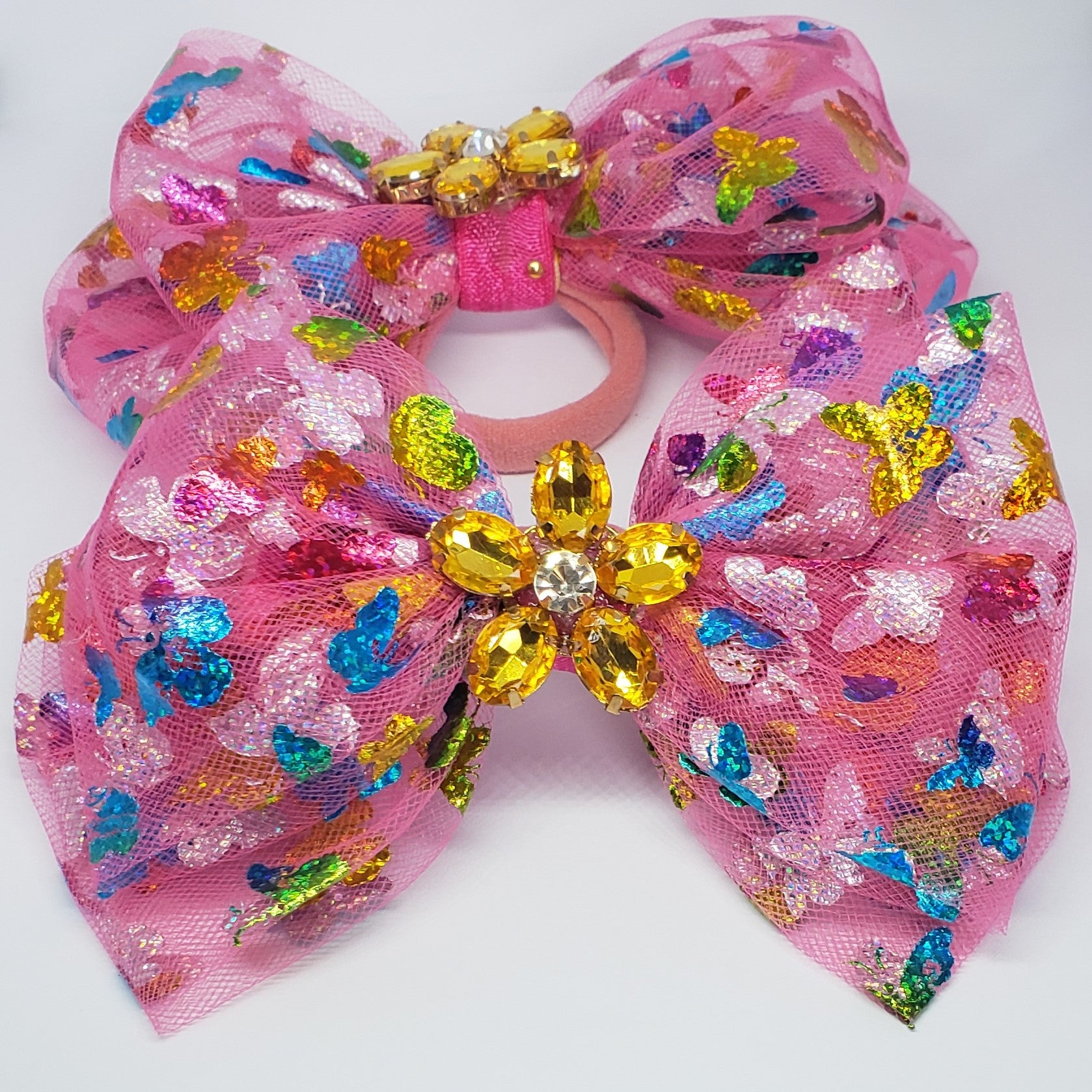 Danielle Butterflies & Amber Flower Bow in Pink Multi Tulle - Houzz of DVA Boutique