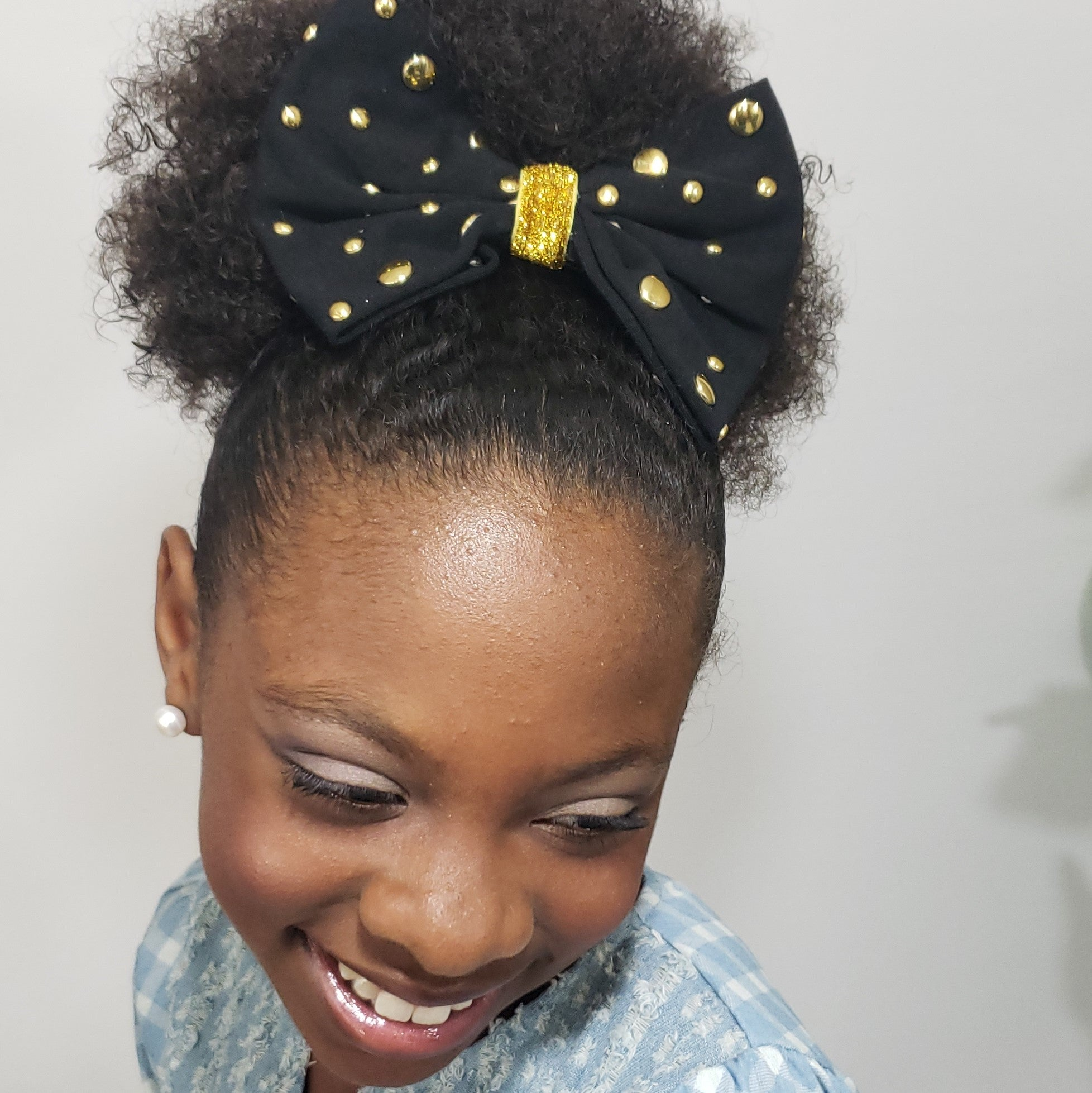 Makaya Black & Gold Studded Affair Large Bow - Houzz of DVA Boutique