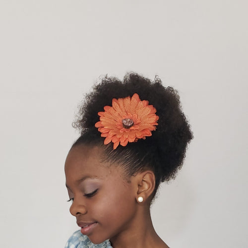 Makaya Burnt Orange Rustic Drusy Flower Clip - Houzz of DVA Boutique