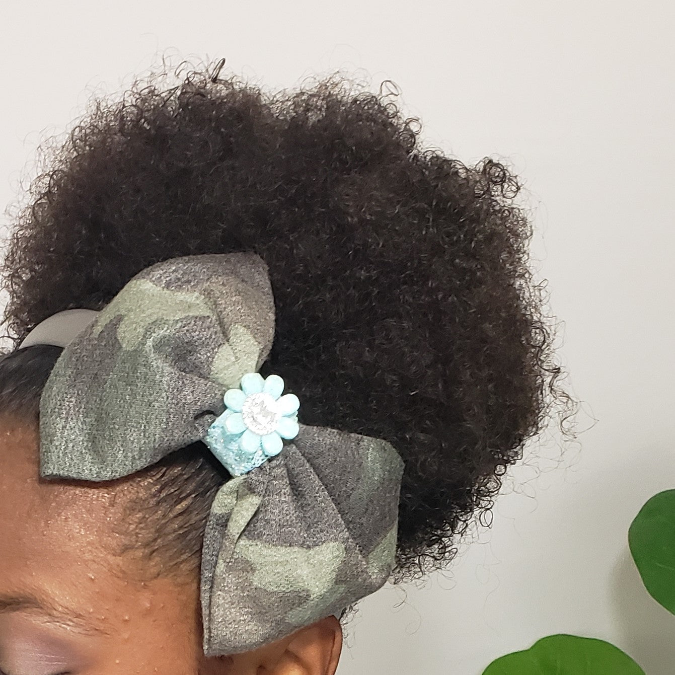 Cassidy-Dior Grey Camo & Ice Blue Lace Headband - Houzz of DVA Boutique