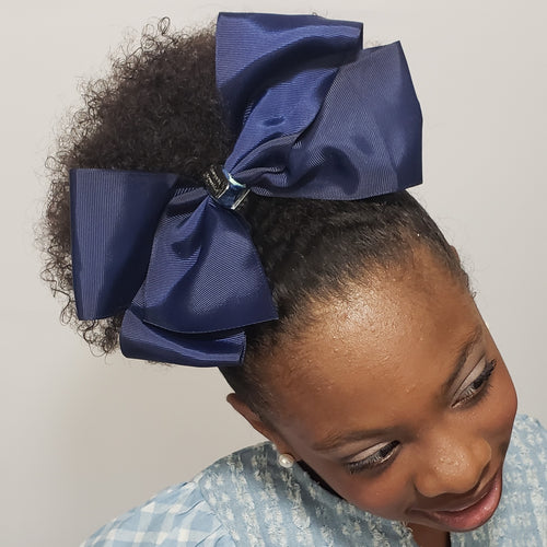 Makaya Love- U- 2D- Moon & Back Jumbo Uniform Bow in Navy - Houzz of DVA Boutique