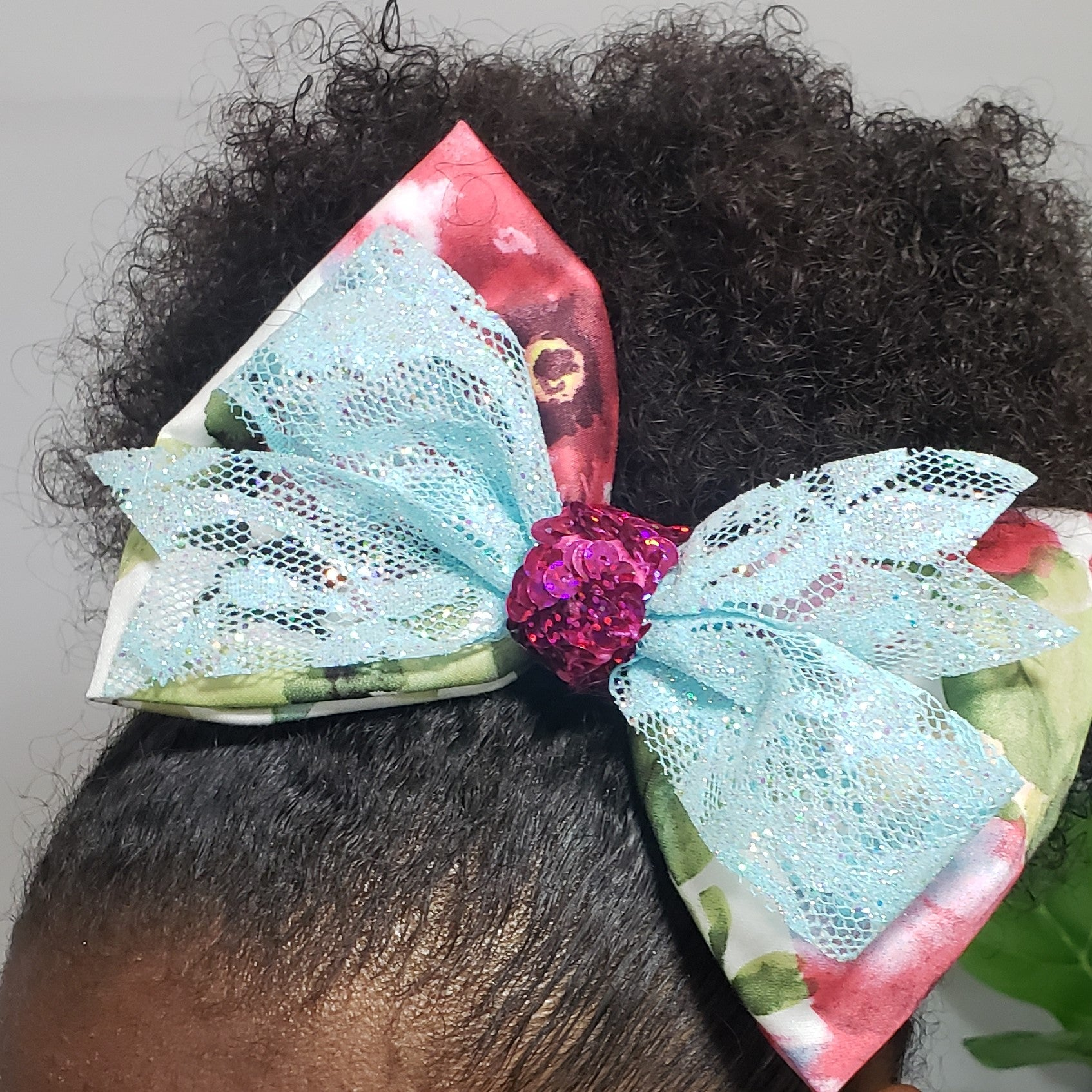 Danielle Magenta Cream & Ice Blue Lace Bow - Houzz of DVA Boutique