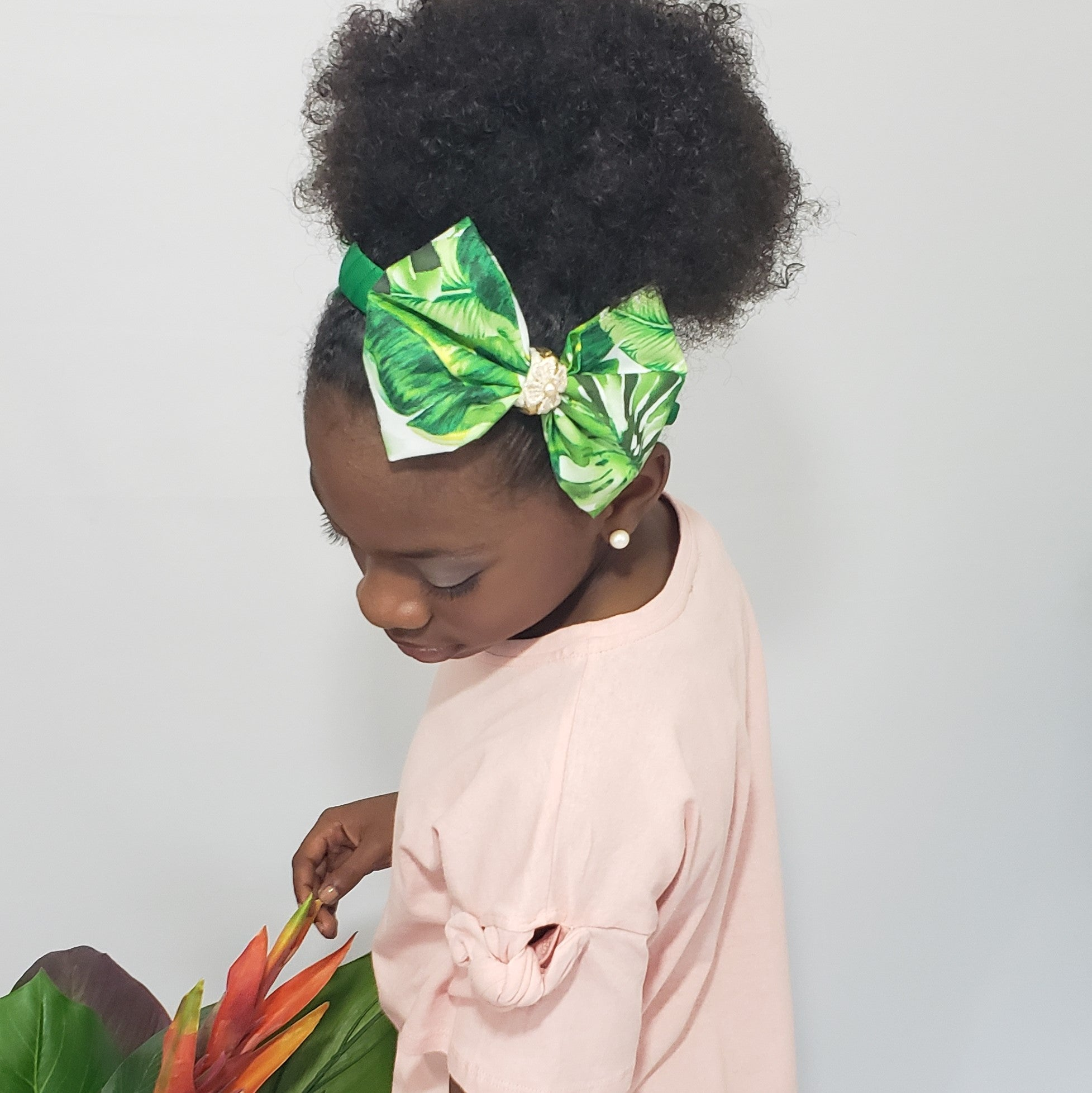 N-Zala Island Vibe Green with Freshwater Pearl, Braided Gold Leather & Gold Studs Headband - Houzz of DVA Boutique