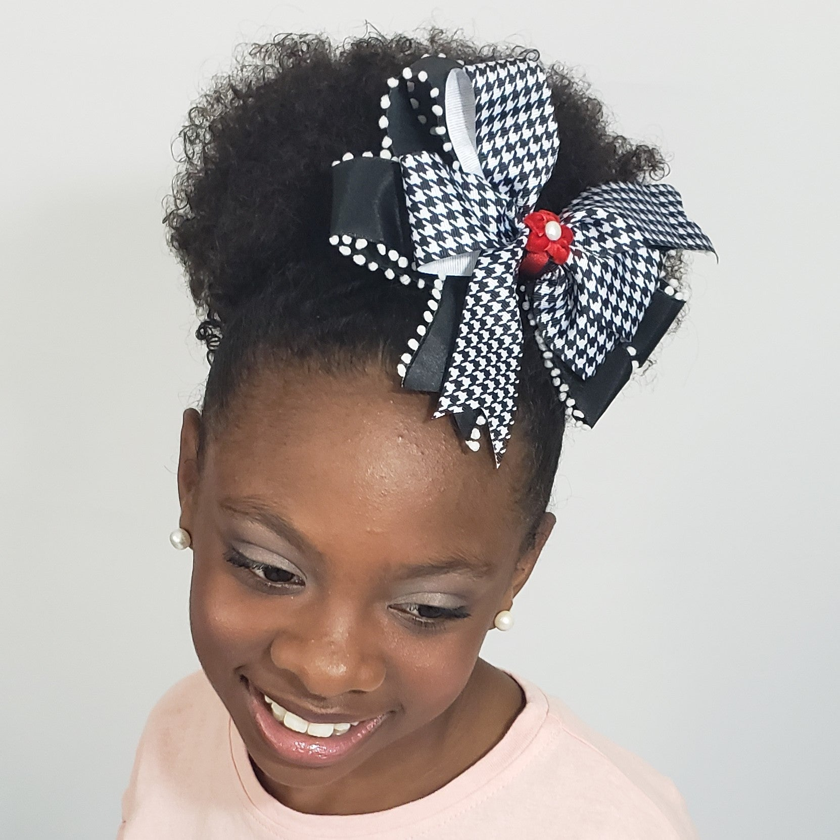 Ayana Freshwater Pearl Black, Red & White Houndstooth Hair Bow - Houzz of DVA Boutique