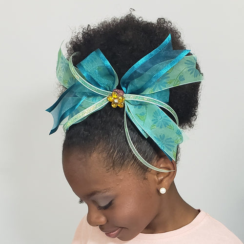 N-Zala Floral Mint & Teal Hair Bow with Sparkly Amber & White Flower Cluster - Houzz of DVA Boutique