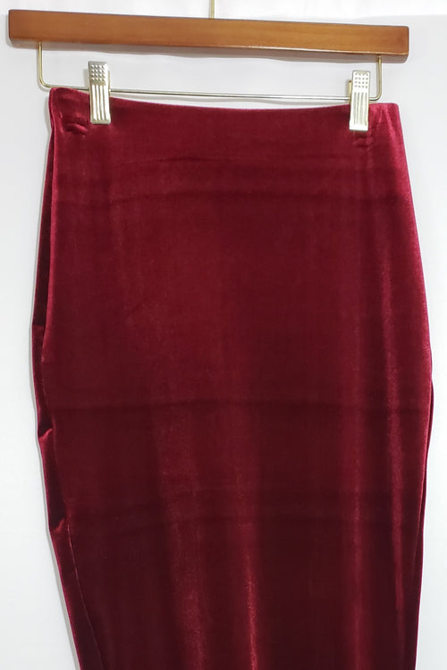 Meaghan Stretch Velvet Burgundy Pencil Skirt - Houzz of DVA Boutique