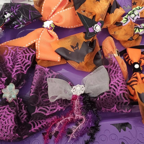 Halloween Purple, Black & Orange Bats & Ghost Bow - Houzz of DVA Boutique