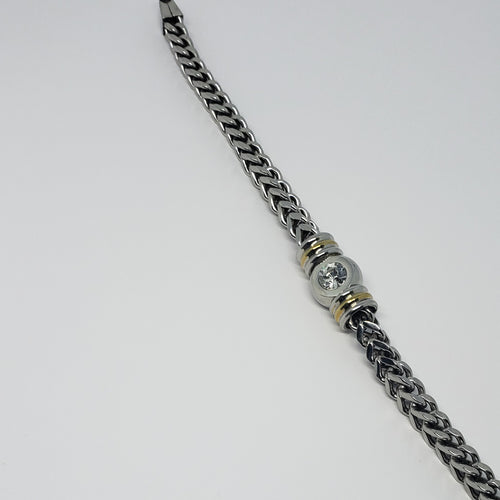 Stainless Steel Two-tone Men's Bracelet with Bezel Set White Austrian Crystal Details - Houzz of DVA Boutique