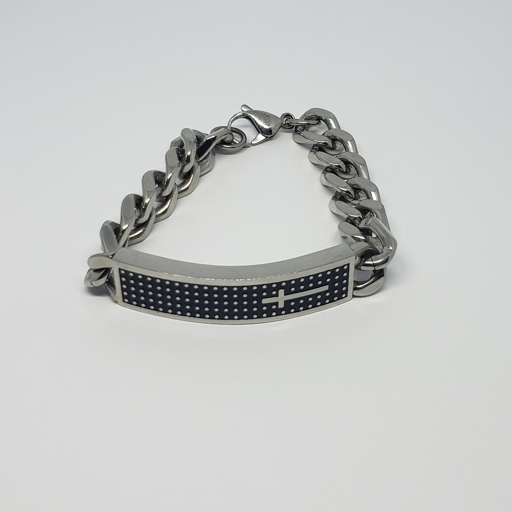 Men's Stainless ID Band Style Bracelet with Cross Detail - Houzz of DVA Boutique