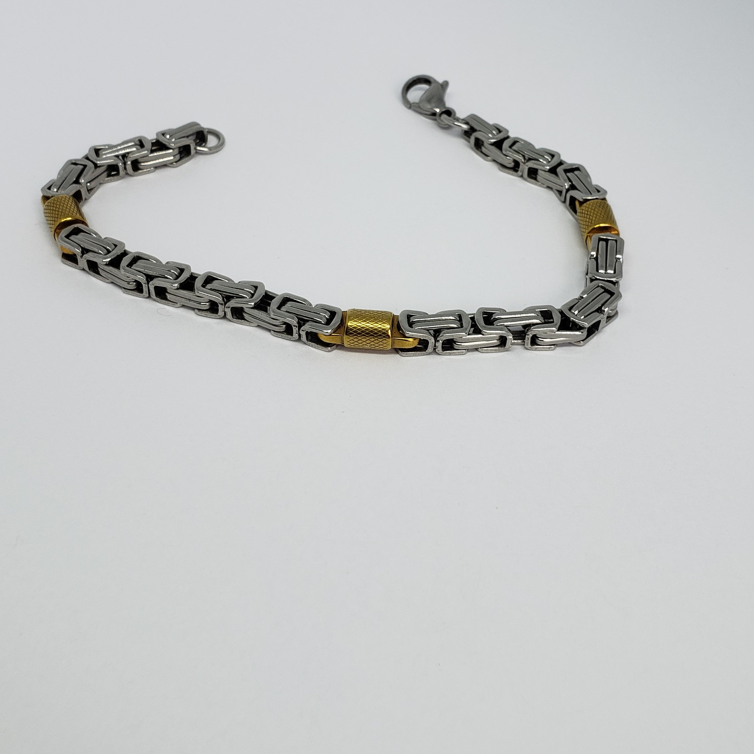 Stainless Steel & Yellow Ion-Plated Men's Bracelet - Houzz of DVA Boutique