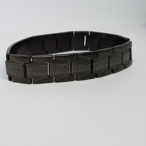Men's Black Stainless Steel Black Greek Key Detail Link Bracelet - Houzz of DVA Boutique