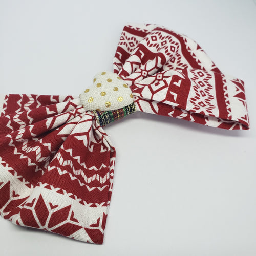 Kelsea Holiday Party Bow in Red, White & Gold - Houzz of DVA Boutique
