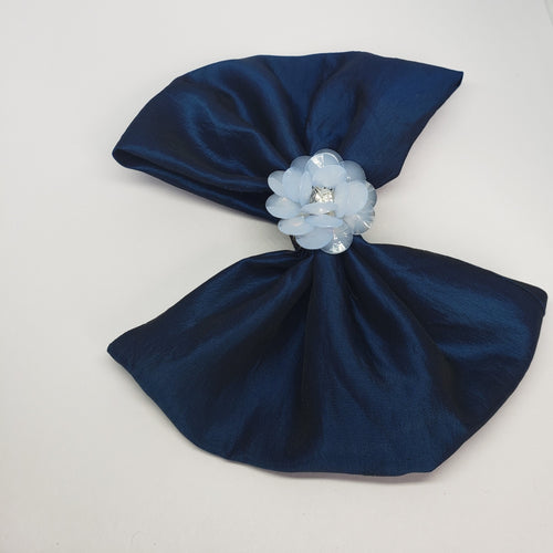 Cassidy-Dior Cold Blue Flower Cluster Holiday Bow - Houzz of DVA Boutique