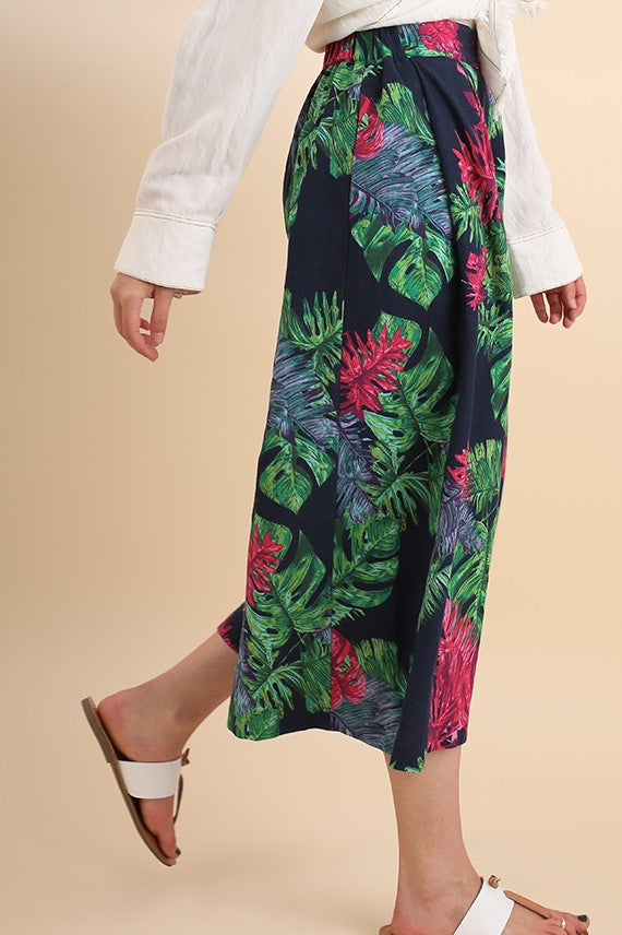 Jean Tropical Palm-Leaf Print High Waist Gaucho Pant in Navy Mix - Houzz of DVA Boutique