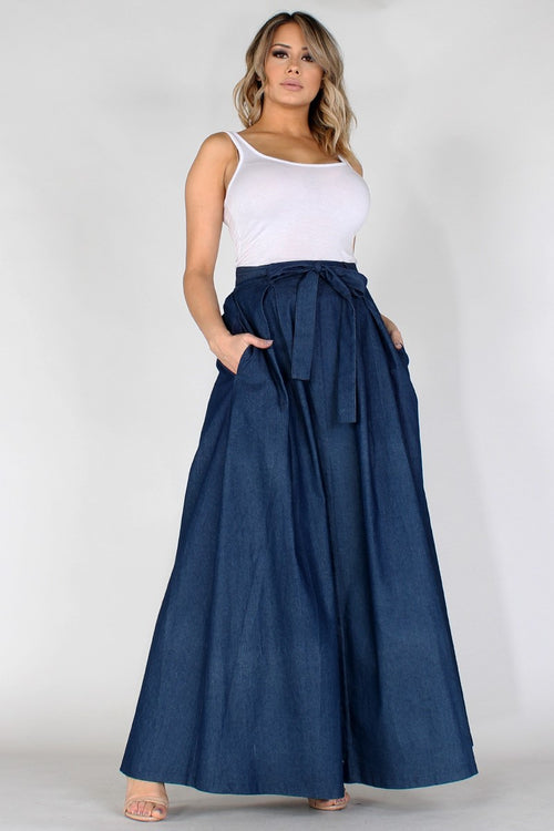 Chrissy High-Waisted Maxi Skirt in Dark Lightweight Denim - Houzz of DVA Boutique