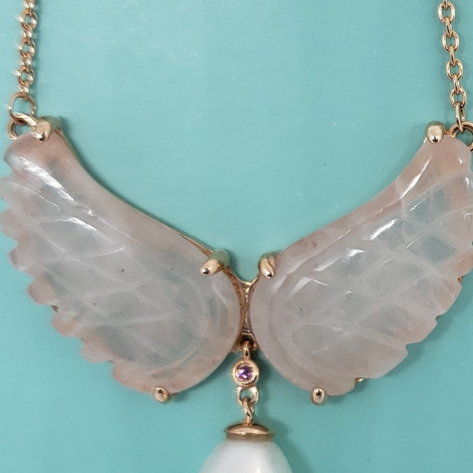 Angel Wings Galilea Rose Quartz, Freshwater Pearl, Orissa Rhodolite Garnet 14K RG Over Sterling Silver Drop Necklace (18 in) TGW 22.58 cts. - Houzz of DVA Boutique