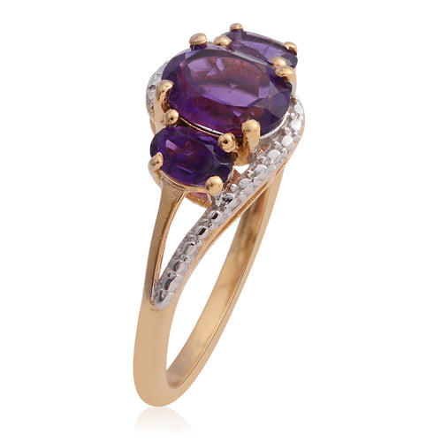 Amethyst Three Stone Ring In 14Kg Over Silver - Houzz of DVA Boutique
