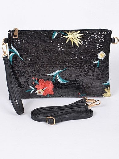 Isle of Spice Where Everything Nice Large Sequin Floral Clutch - Houzz of DVA Boutique
