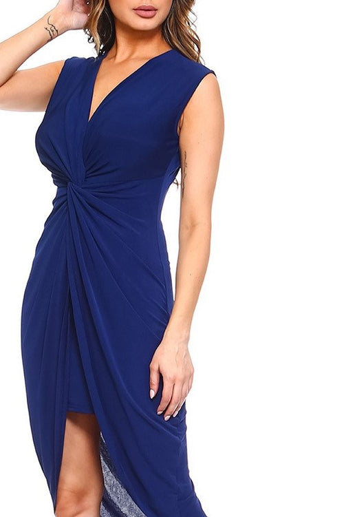 April Deep-V Twist Front High Low Asymmetrical Hem Dress in Navy - Houzz of DVA Boutique