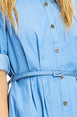 Patricia-Z Light Blue Chambray Belted ¾ Sleeve Midi Swing Shirt Dress - Houzz of DVA Boutique