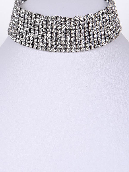 Sparkle Me Krazi Rhinestone Choker Necklace in Silvertone - Houzz of DVA Boutique