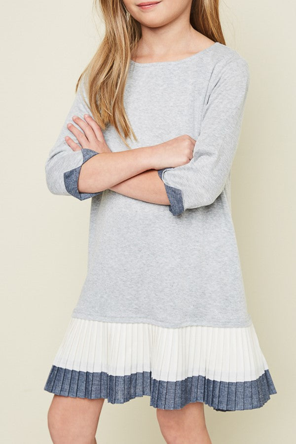 Londyn Tunic Dress in Heather Grey with Contrasting Navy & Off-White Pleats. - Houzz of DVA Boutique