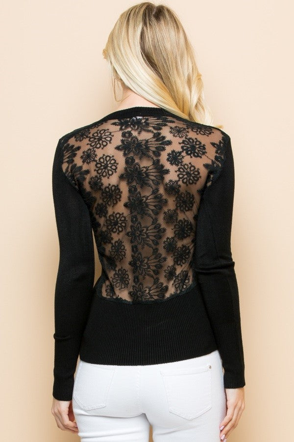 Valentina V-Neck Delicate Sheer Crochet Knit Sweater in Black - Houzz of DVA Boutique