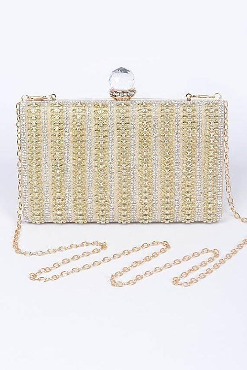 Golden Charm Evening Jewel Encrusted Clutch - Houzz of DVA Boutique