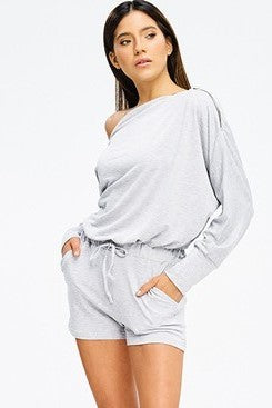 Hello Gorgeous Off the Shoulder Romper with Gold Zipper Details in Heather Gray - Houzz of DVA Boutique