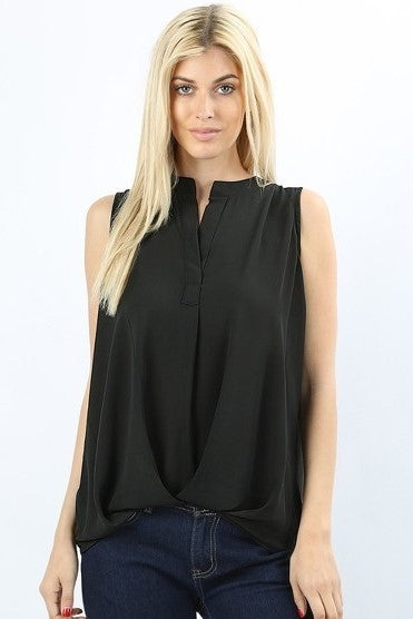 Taszeena Hi Low Split Neck Blouse in Black - Houzz of DVA Boutique