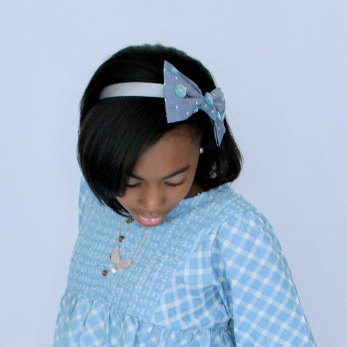 Kelsea Sparkles in Chambray & Aqua Glitter Buttons Headband in Grey - Houzz of DVA Boutique