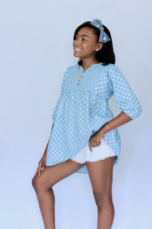Savvi Olivia Blue & White Tunic Dress - Houzz of DVA Boutique