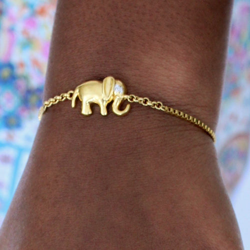 Diamond Accent Elephant Charm Bolo Bracelet in Gold Over Sterling Silver - Houzz of DVA Boutique