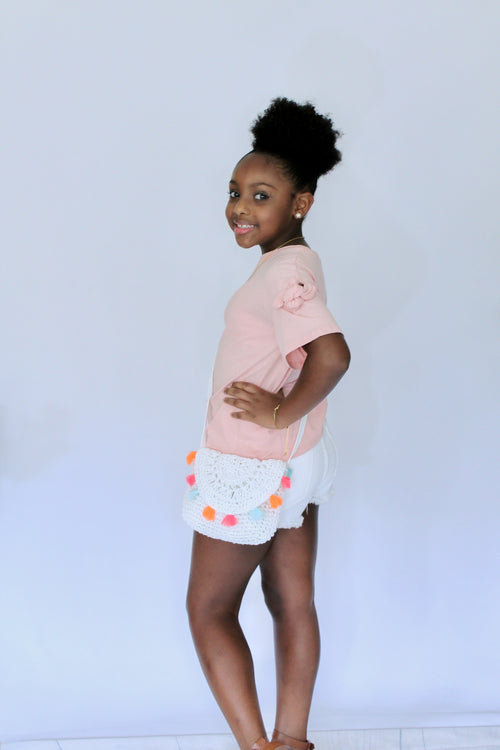 Y-Knot Rae Fancy Bow Sleeve Tee in Light Pink - Houzz of DVA Boutique